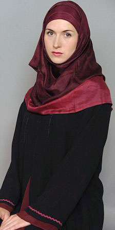 CAMILLA LEYLAND PICTURED IN HER TRADITIONAL ISLAMIC CLOTHING AT HER HOME IN STRATTON IN DEVON