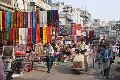 Sunday morning textile market, Chandni Chowk, Old Delhi, India, Asia